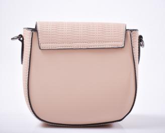 Дамска чанта еко кожа пудра
