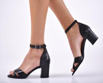 Дамски елегантни сандали естествена  кожа черни