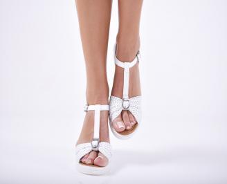Дамски сандали на платформа естествена кожа бели