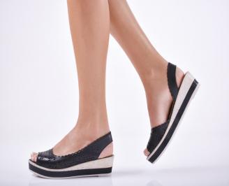Дамски  сандали на платформа  естествена кожа черни