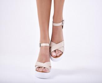 Дамски сандали на платформа естествена кожа  бежови
