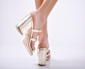 Дамски  чехли   златисти