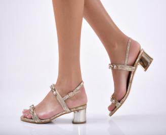 Дамски  елегантни чехли еко кожа  златисти
