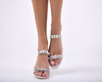 Дамски  елегантни чехли еко кожа сребристи
