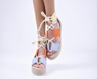 Дамски сандали еко велур шарени