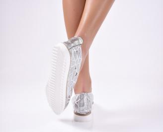 Дамски  обувки еко кожа сребристи