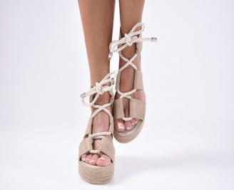 Дамски сандали текстил бежови