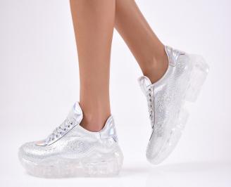 Дамски спортни  обувки текстил сребристи
