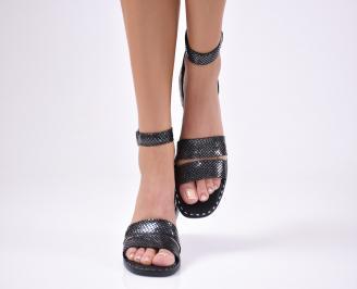 Дамски равни сандали  естествена кожа черни