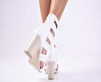 Дамски  сандали естествена  кожа бели 3