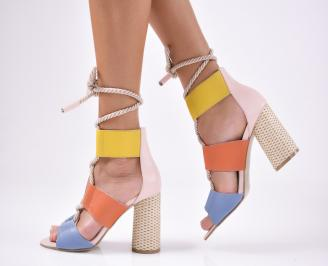 Дамски елегантни сандали естествена  кожа шарени