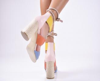 Дамски елегантни сандали естествена  кожа шарени 3