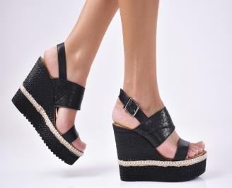 Дамски  сандали естествена кожа черни