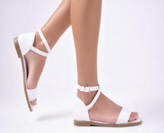 Дамски равни сандали  естествена кожа бяло