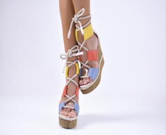 Дамски  сандали на платформа  естествена кожа шарени