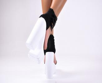Дамски елегантни сандали еко   велур черни 3