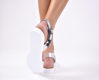 Дамски сандали  естествена кожа сребристи