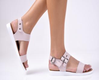 Дамски сандали  естествена кожа пудра