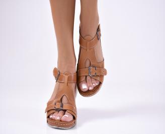 Дамски равни сандали  естествена кожа кафяви