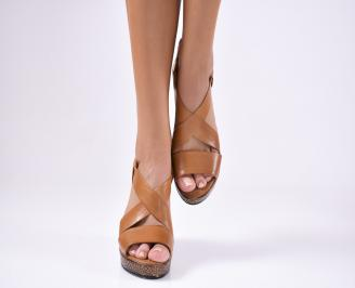 Дамски  сандали на платформа  естествена кожа кафяви