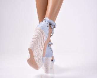 Дамски  сандали на платформа сини