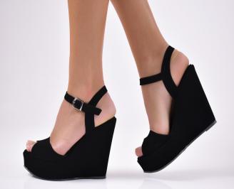 Дамски  сандали на платформа  еко набук черни