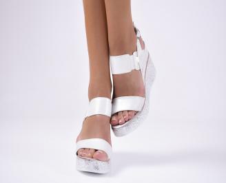 Дамски  сандали на платформа сребристи