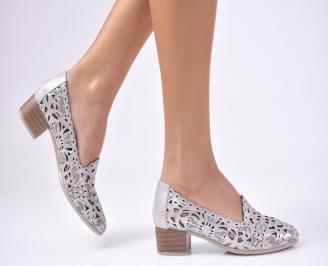Дамски ежедневни обувки естествена кожа сребристи