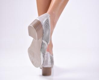 Дамски ежедневни обувки естествена кожа сребристи 3