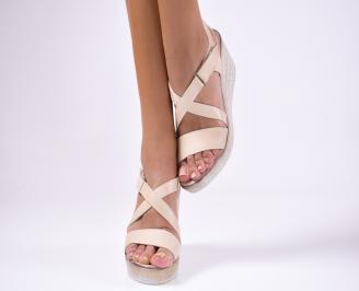 Дамски сандали  естествена кожа  бежови
