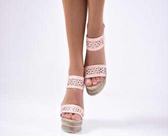 Дамски сандали  еко кожа розови