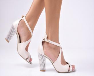 Дамски елегантни сандали еко кожа бежови