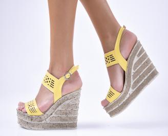 Дамски сандали  еко кожа  жълти