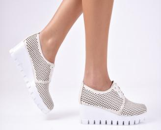 Дамски  обувки платформа естествена кожа бежови