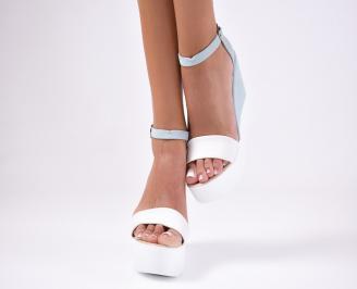 Дамски сандали  еко кожа сини