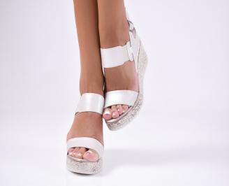 Дамски сандали  еко кожа сребристи