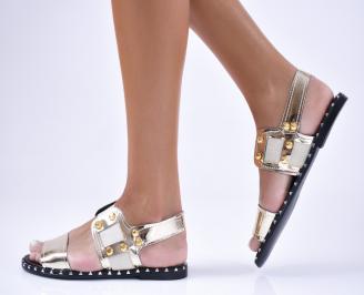 Дамски равни  сандали   златисти