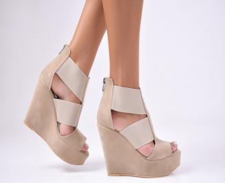 Дамски сандали  еко  набук  бежови