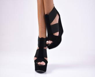 Дамски сандали  еко  набук черни