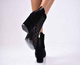 Дамски елегантни сандали набук черни 3