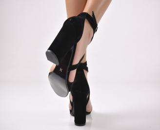 Дамски сандали  еко велур черни