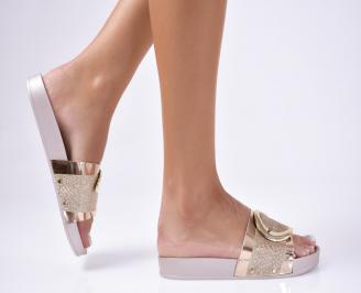 Дамски чехли еко лак златисти