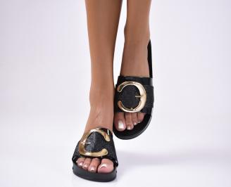 Дамски чехли еко лак черни