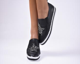 Дамски  обувки равни  черни естествена кожа