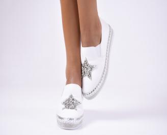 Дамски  обувки равни  естествена кожа бели