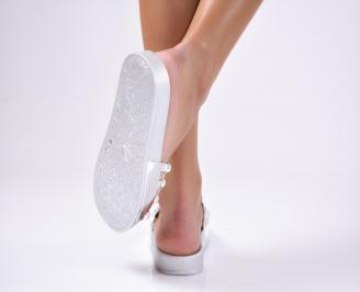 Дамски чехли силикон сребристи