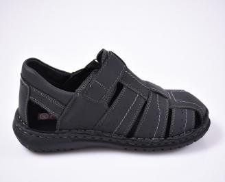 Мъжки сандали еко набук черни 3
