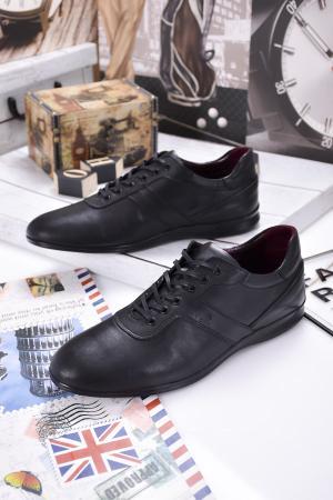 Мъжки спортно елегантни обувки естествена кожа черни