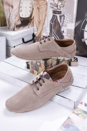 Мъжки спортно елегантни обувки естествен набук кафяви