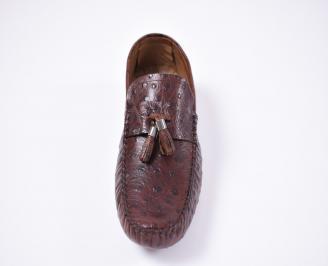 Мъжки спортно елегантни обувки естествена кожа кафяви
